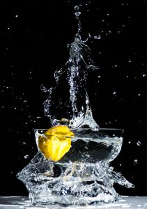 Lemon and water in a bowl.