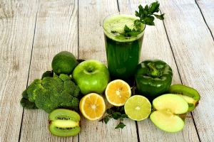 Green smoothie and vegetables